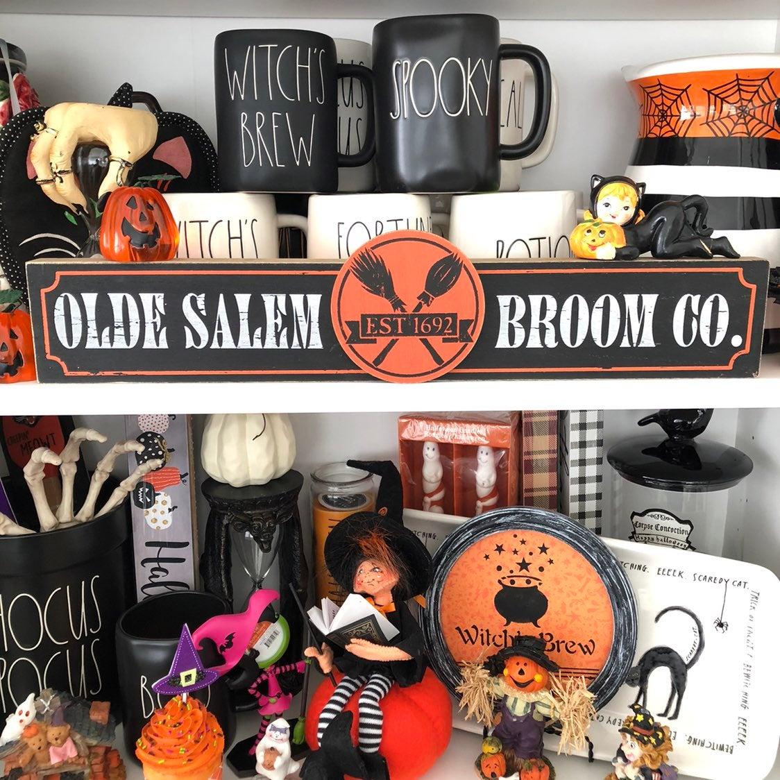 Vintage Halloween Salem Broom Co Sign