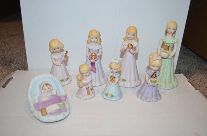 LOT (8) Enesco Growing Up Porcelain Doll Birthday Girls 1 2 4 5 8 9 11 Birth