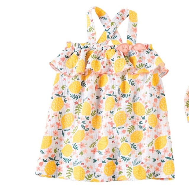 Mud Pie lemon sun dress 12-18m nwot