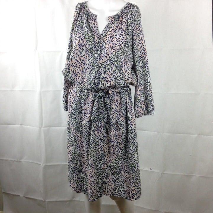 Splendid Feather Print Midi Dress Sz M