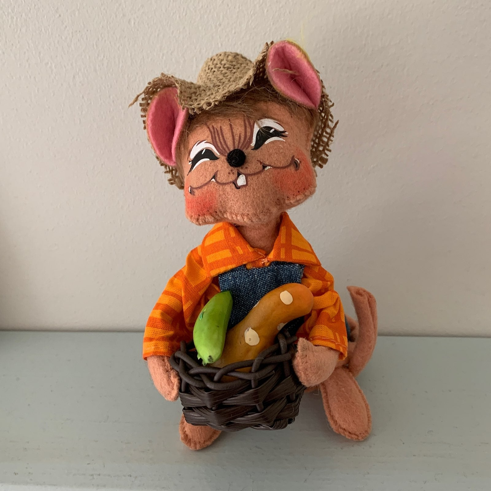 "ANNALEE COUNTRY HARVEST BOY MOUSE 6"" NEW"