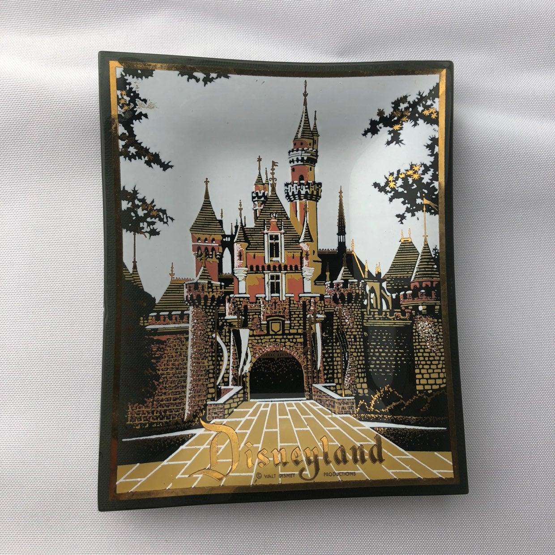 Vintage Disneyland castle trinket dish ashtray glass smoked 1960 gold trim