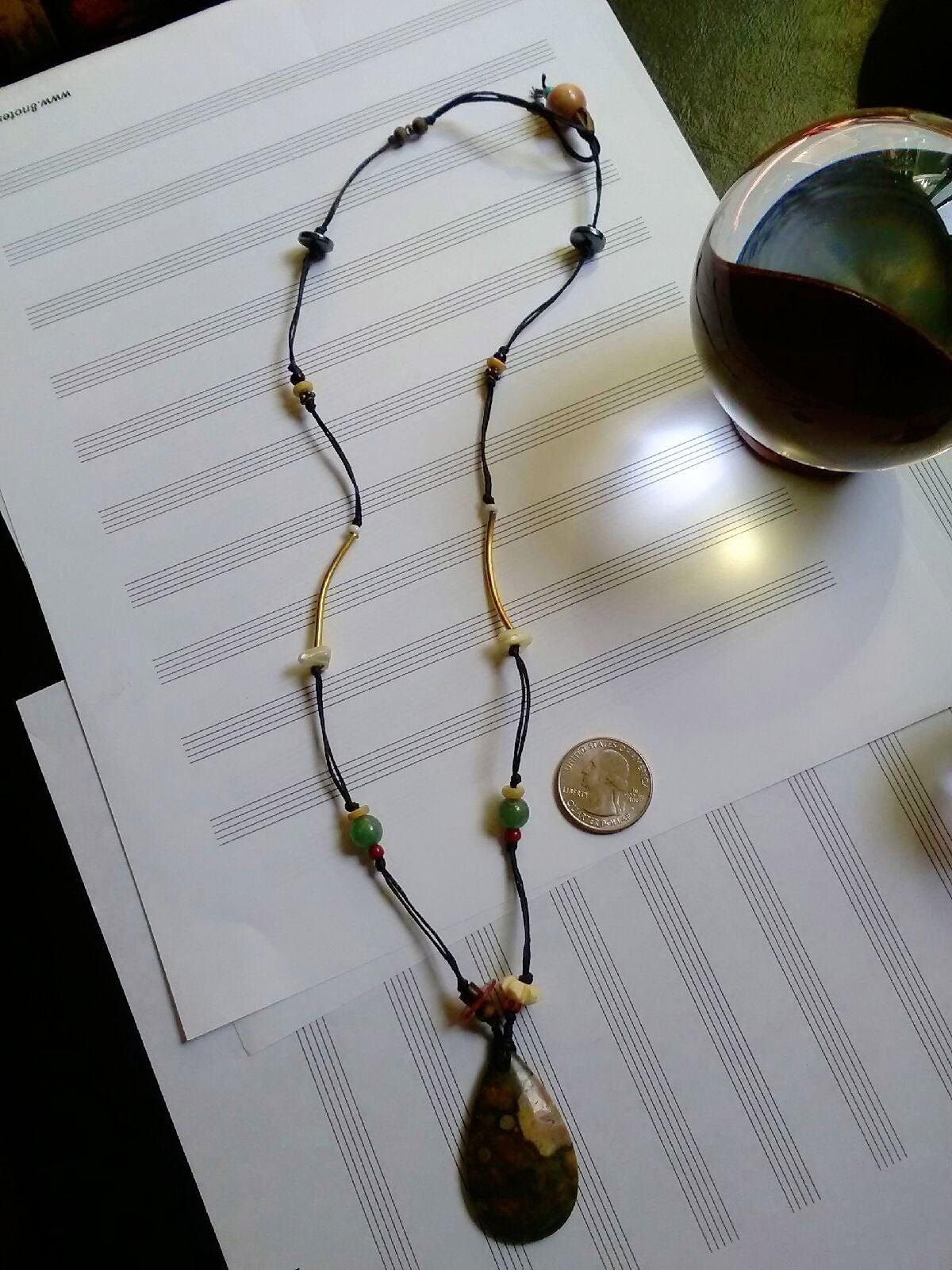 HandmadeJasper wax linen Bead Necklace