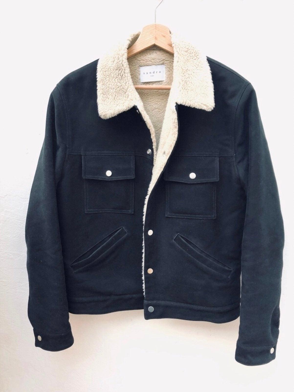 Sandro Black Shearling Jacket Medium