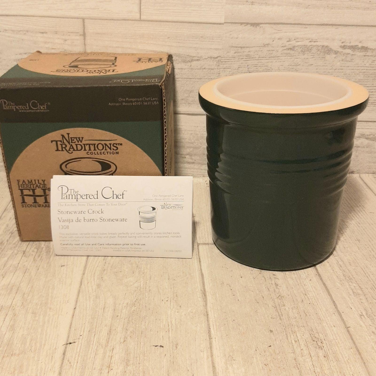 Pampered Chef Stoneware Crock Dark Green
