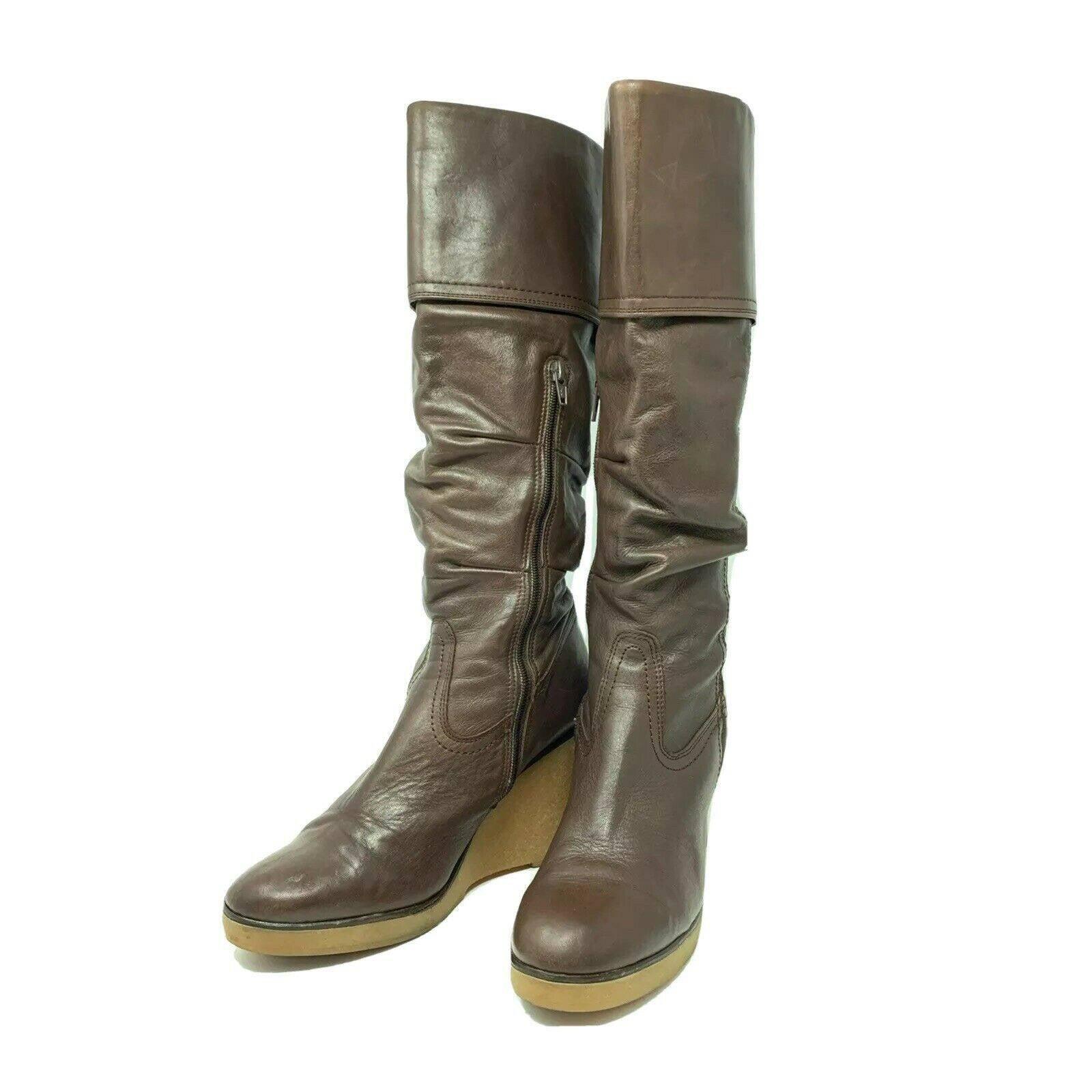BRONX Wedge Boots Knee High Women 10.5