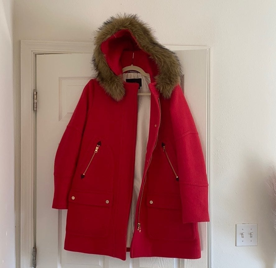 Jcrew chateau red parka coat