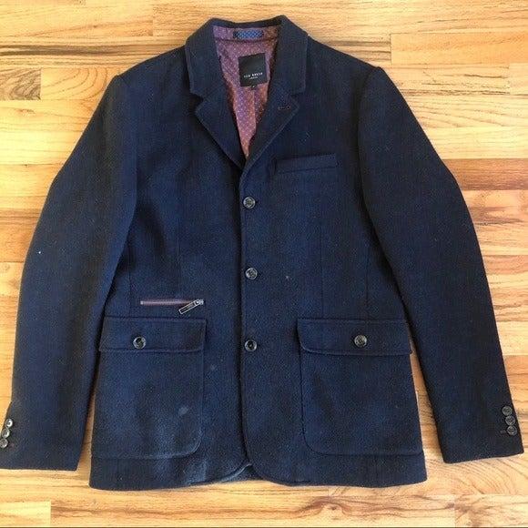 TED BAKER Navy Wool Jacket Coat L