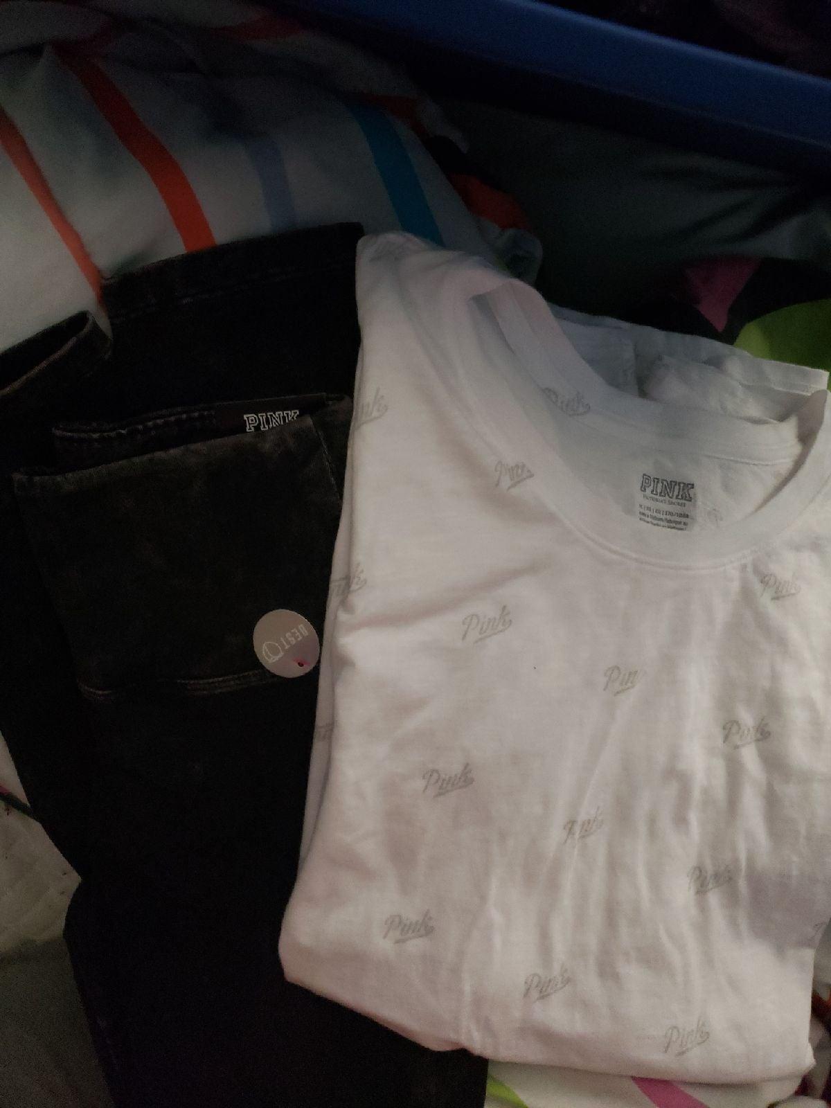 Pink printed XL shirt M washed look legg