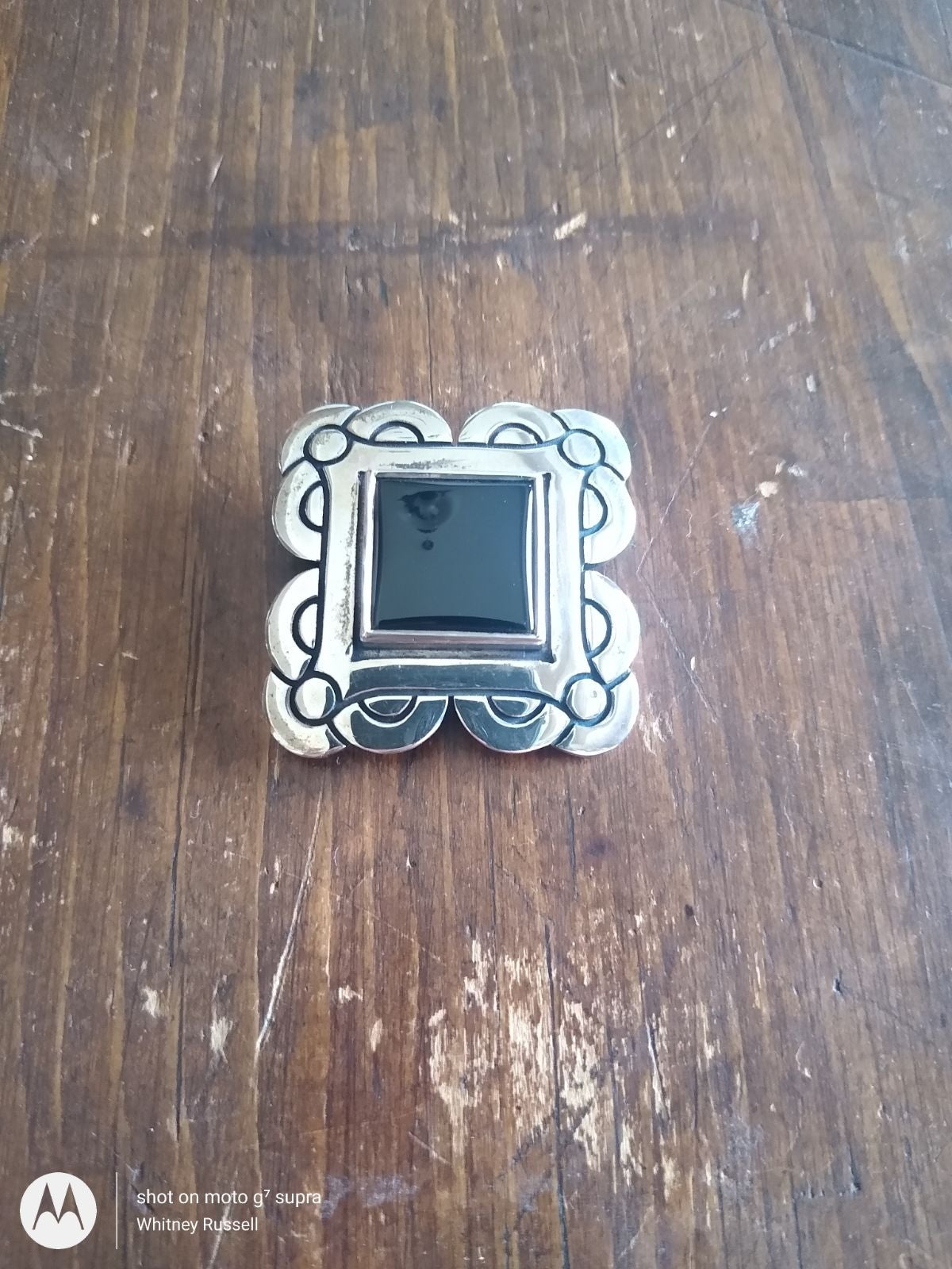 James Avery sterling silver onyx pin