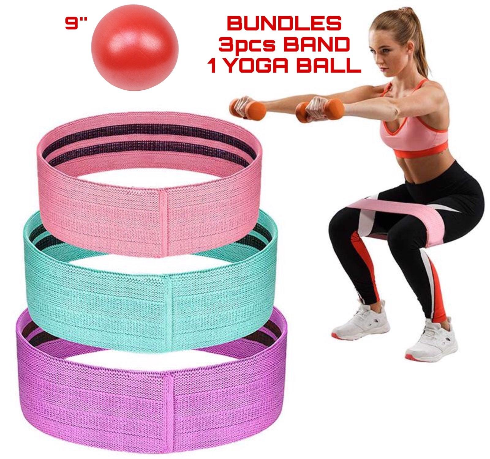 """3pcs Yoga Band and yoga ball 9"""" Red"""