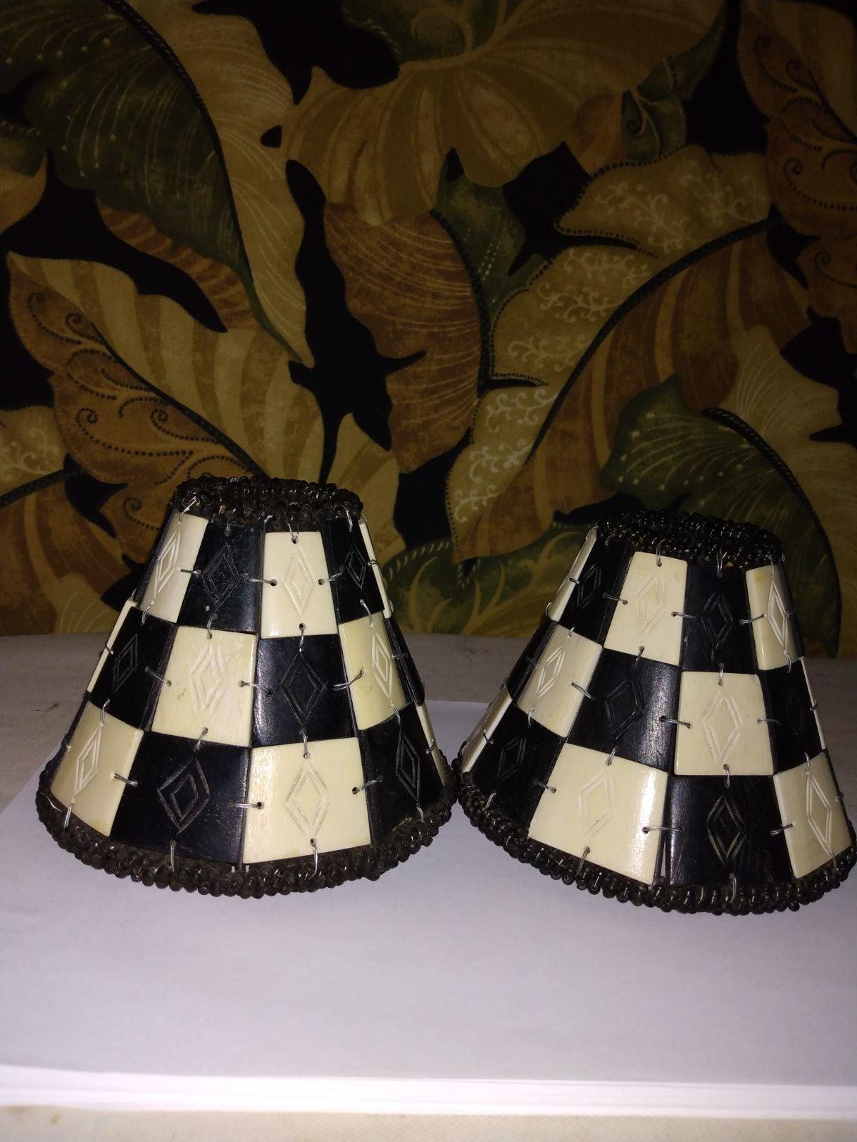2Carved Bone Mini Lampshades (India)