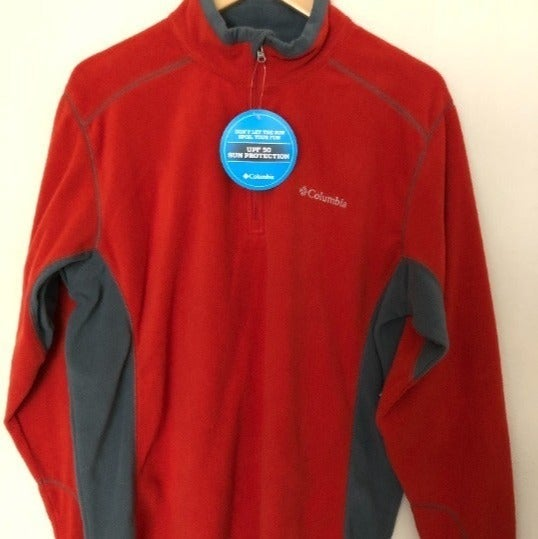 NWT COLUMBIA Men's Red 1/4 zip pullover