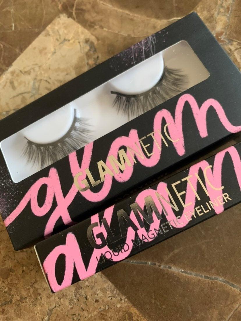 Glamnetic lash set and magnetic eyeliner