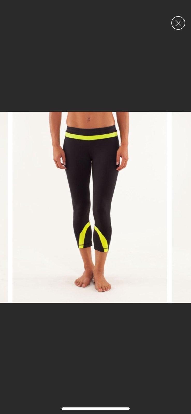 Lululemon black and neon crop leggings