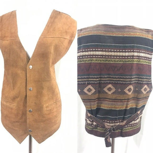 80s Wilson's Leather Western Vest L