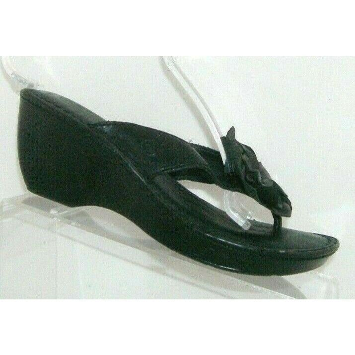 Born black leather thong wedge sandals 7