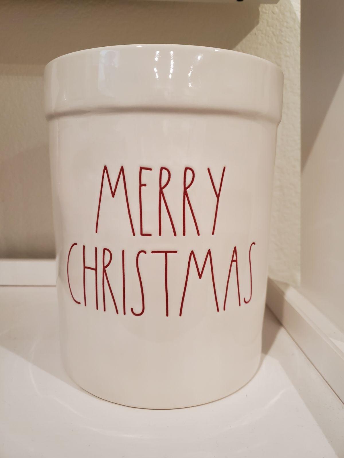 Rae Dunn Merry Christmas crock