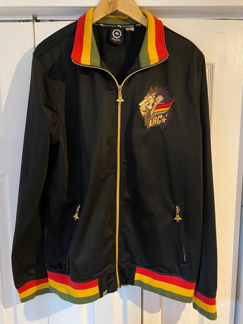 LRG Track Jacket Lion Pride Rasta Large
