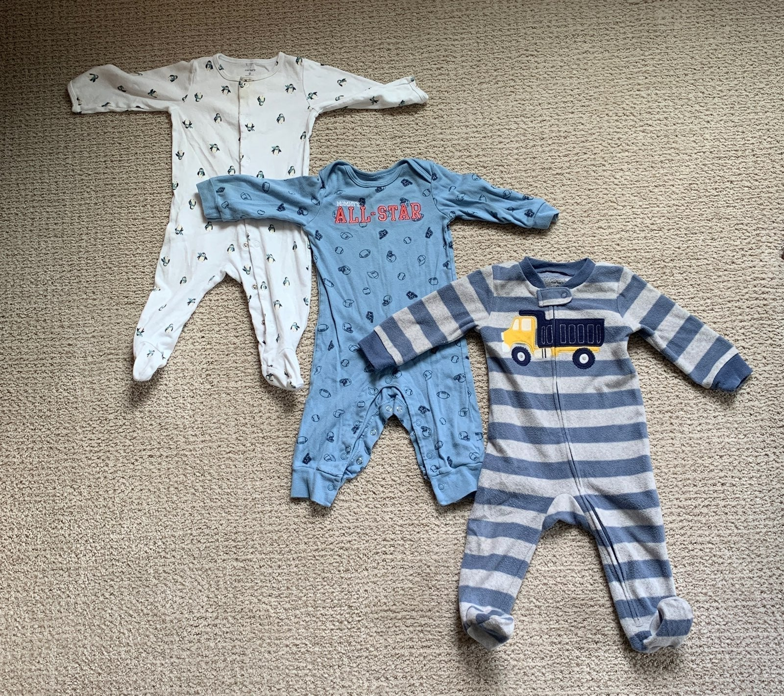 Lot Baby Boy 9 Months PJs Pajamas