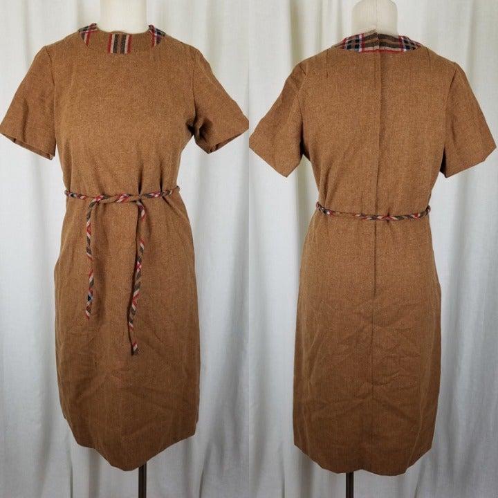 Vintage 50s Woven Plaid Wool Tweed Dress