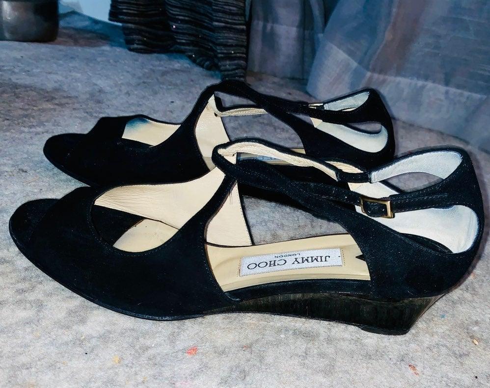 Jimmy Choo Black Suede Wedge Sandal