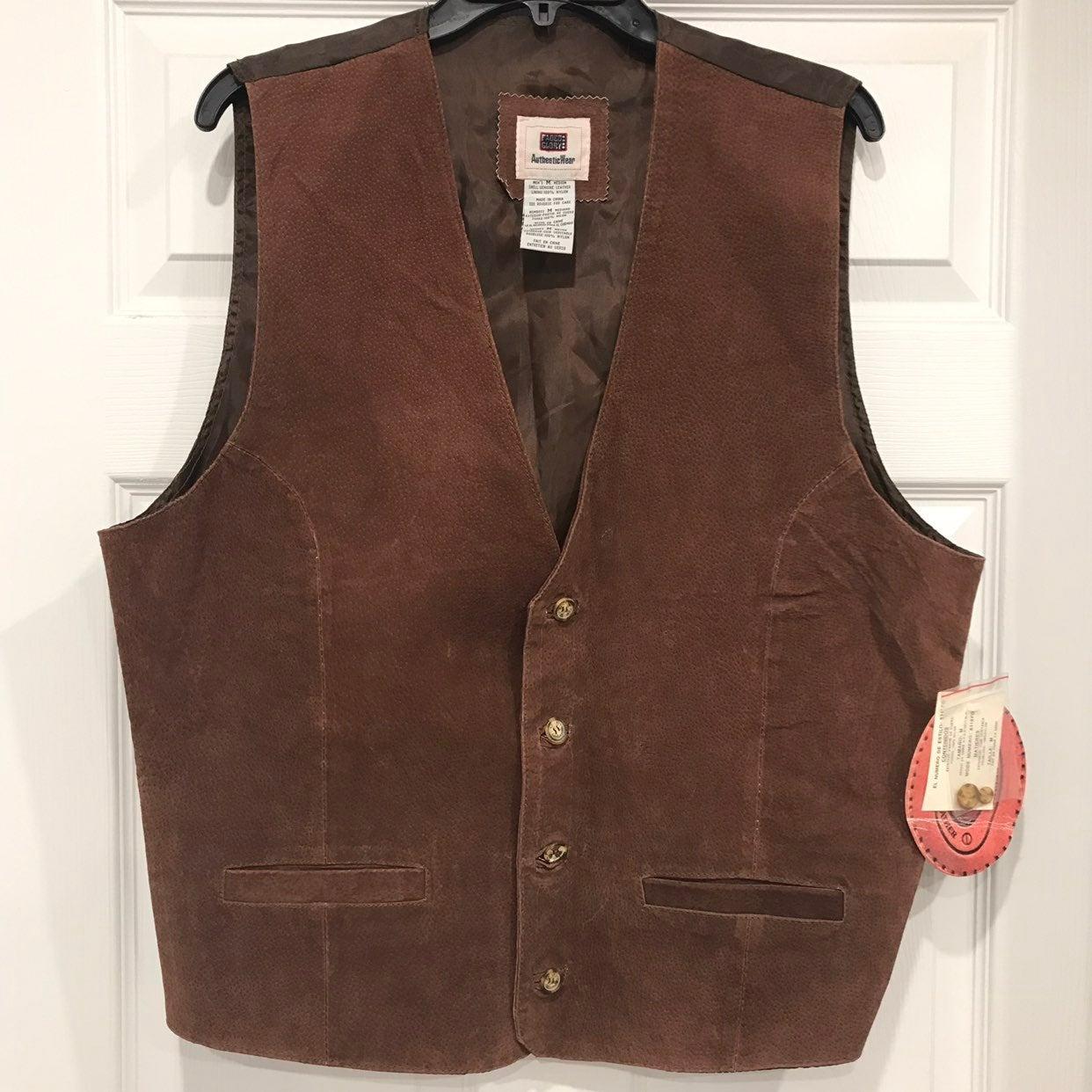 NWT Men's Brown Leather Vest