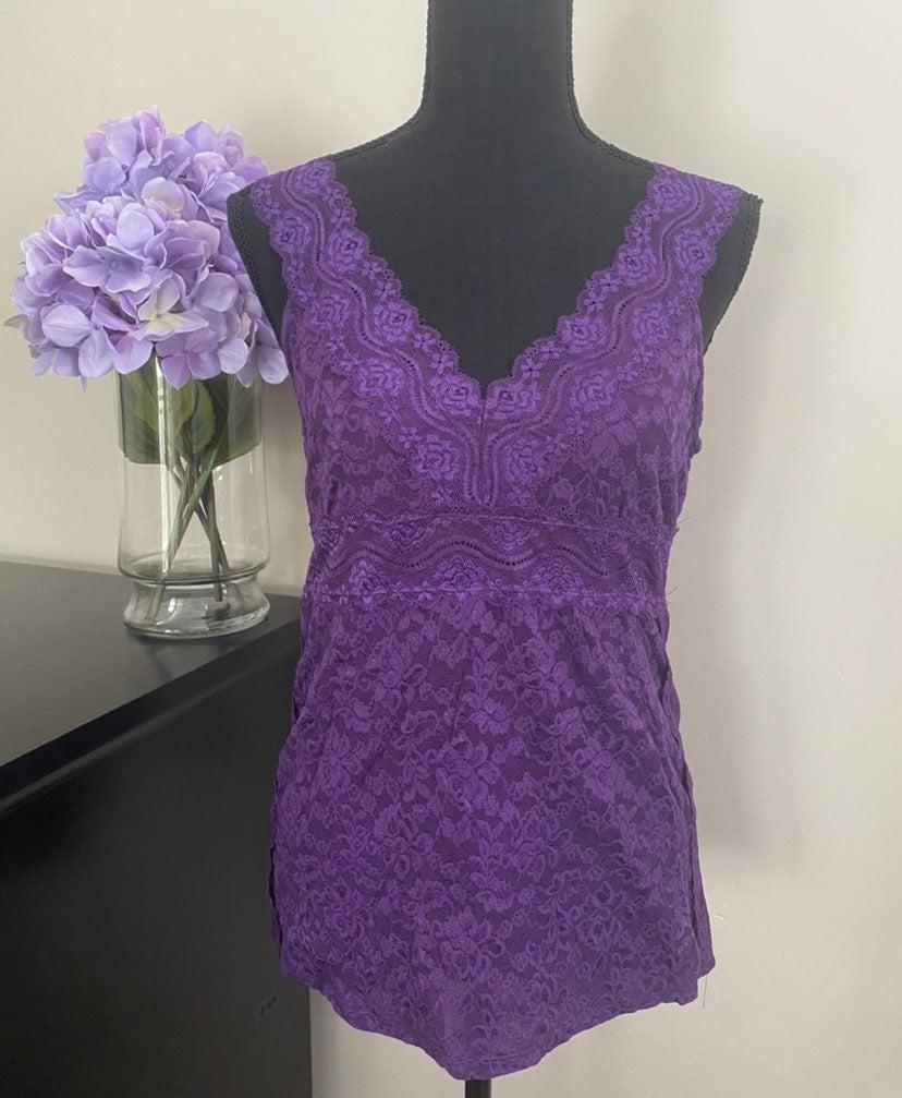 Women's Moda Purple Lace Tank