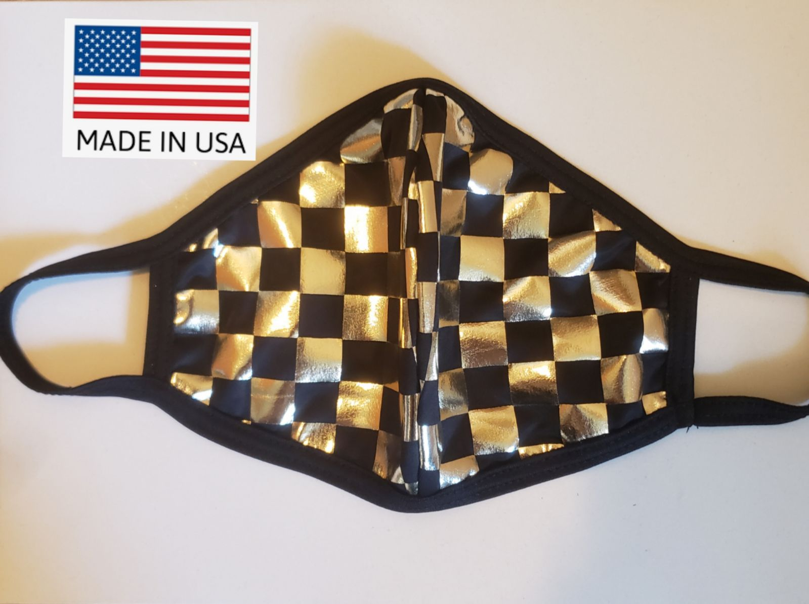 Gold Checker Triple Layer Facemask