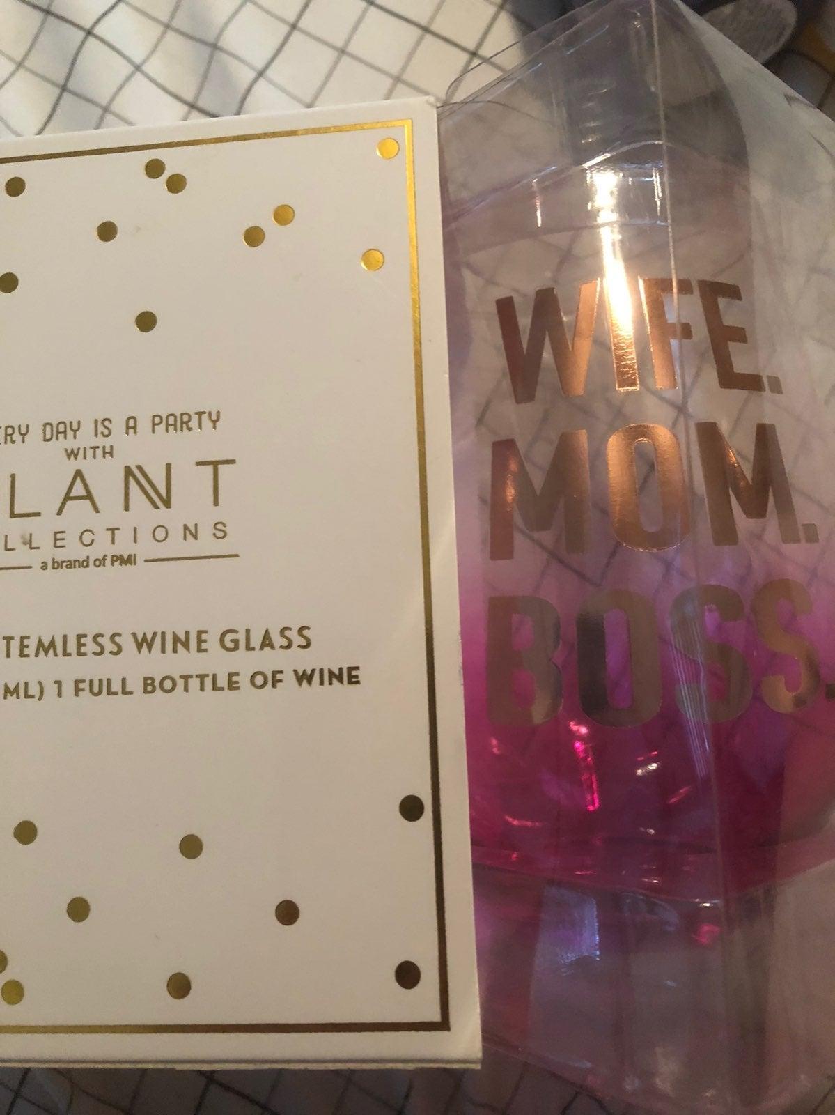 New in box big stemless wine glass
