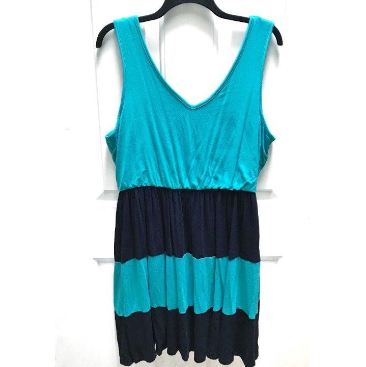 Modcloth Pink Owl teal navy stripe dress