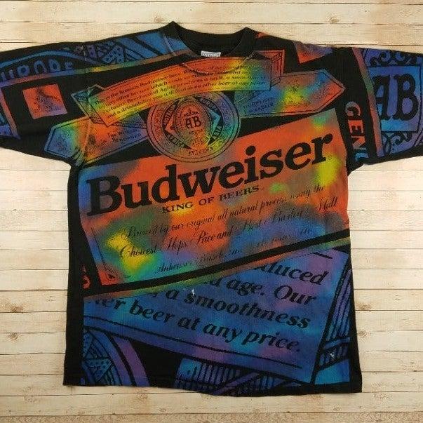 VTG 90s Budweiser All Over Print T-Shirt