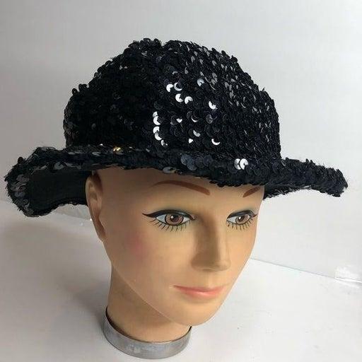 Vintage Women's Hat Lancaster Sparkly Black Wool