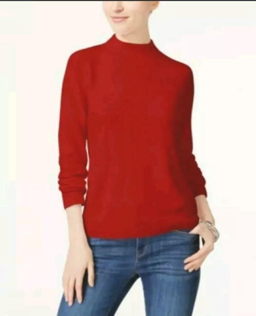 Karen Scott Zip-Back Mock-Neck Sweater
