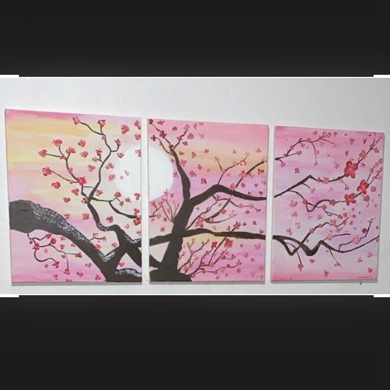 Japanese Pink Sakura connecting painting