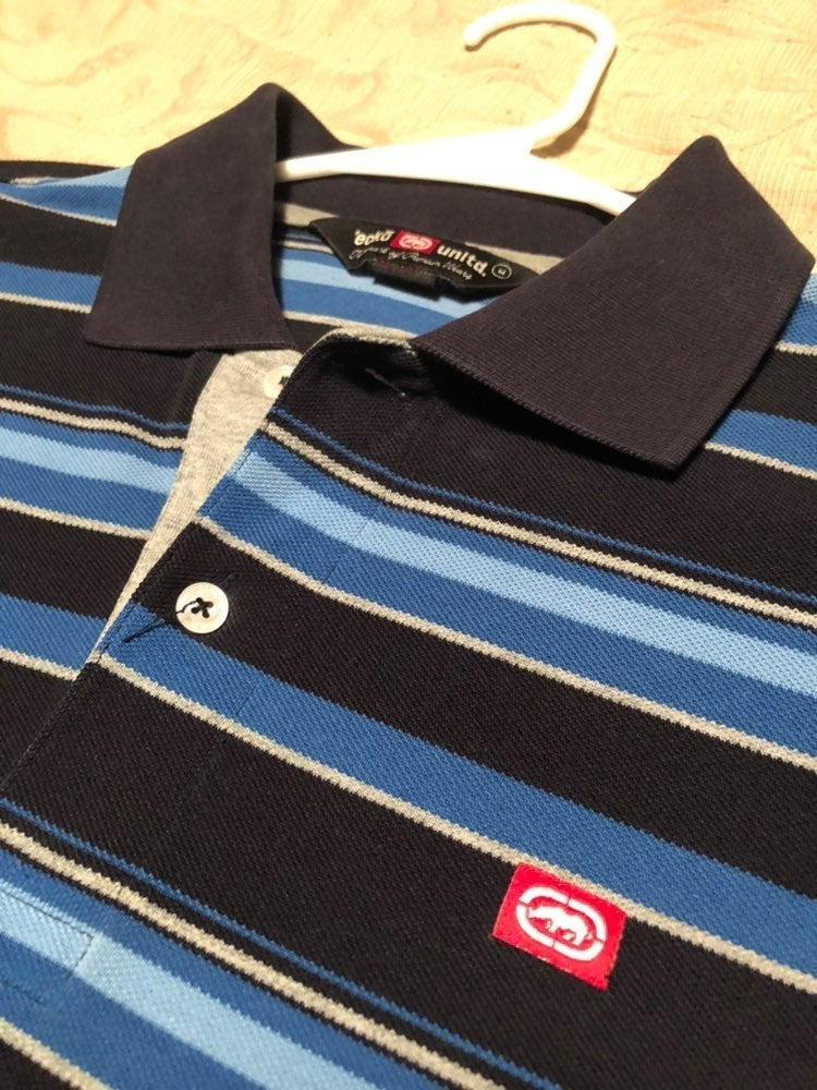 Men's Ecko Polo Shirt M Blue & Black