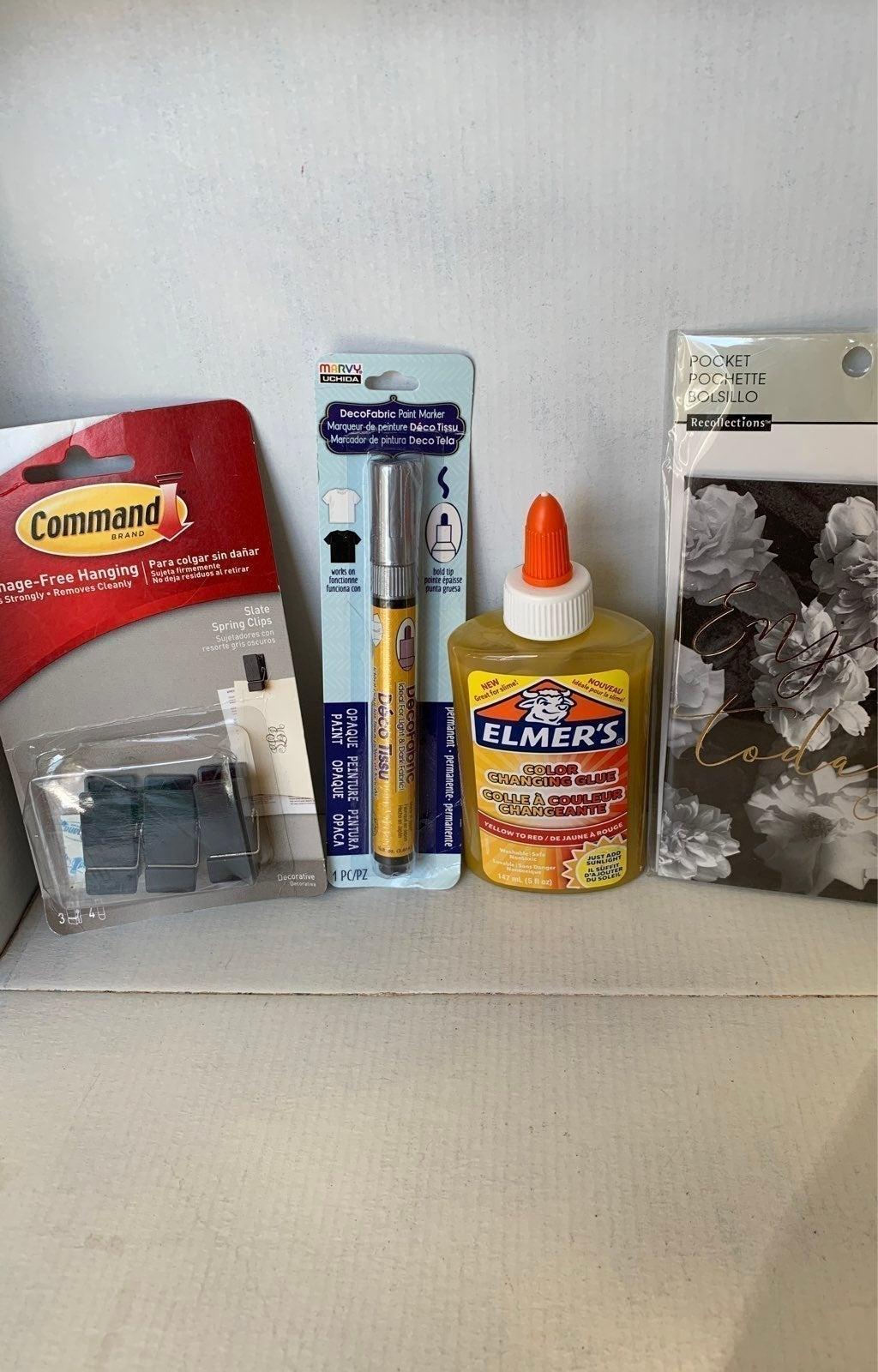 Glue, paint marker, damage free hanging,