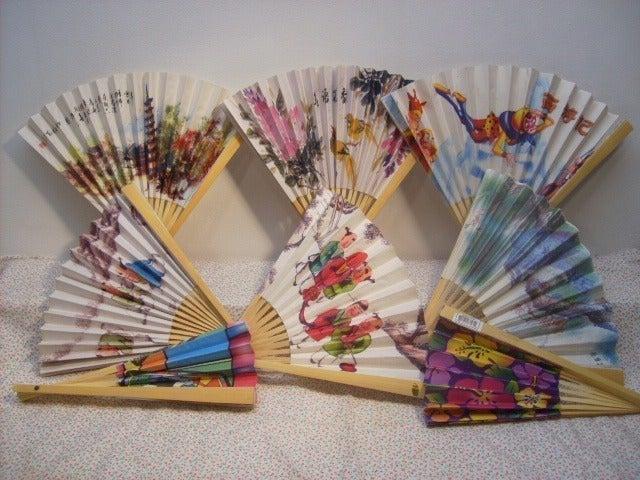 6 Asian Paper Hand Mixed Folding Fan Set
