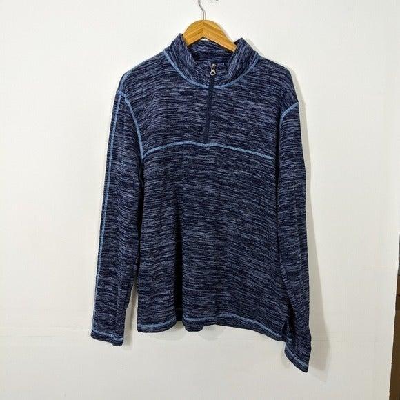 Vintage 1946 Blue Fleece 1/4 Zip Sweater