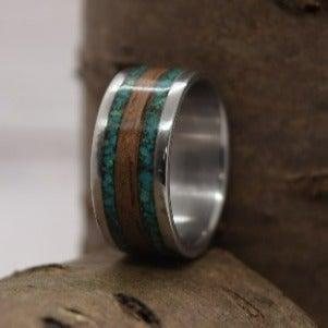 Stainless Steel, Chrysocolla And Black Walnut Inlays, Ready To Ship, Size 7.75
