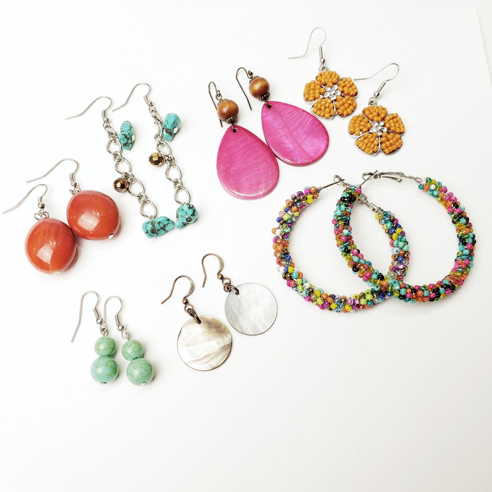 7 x Boho bright clolored earrings lot