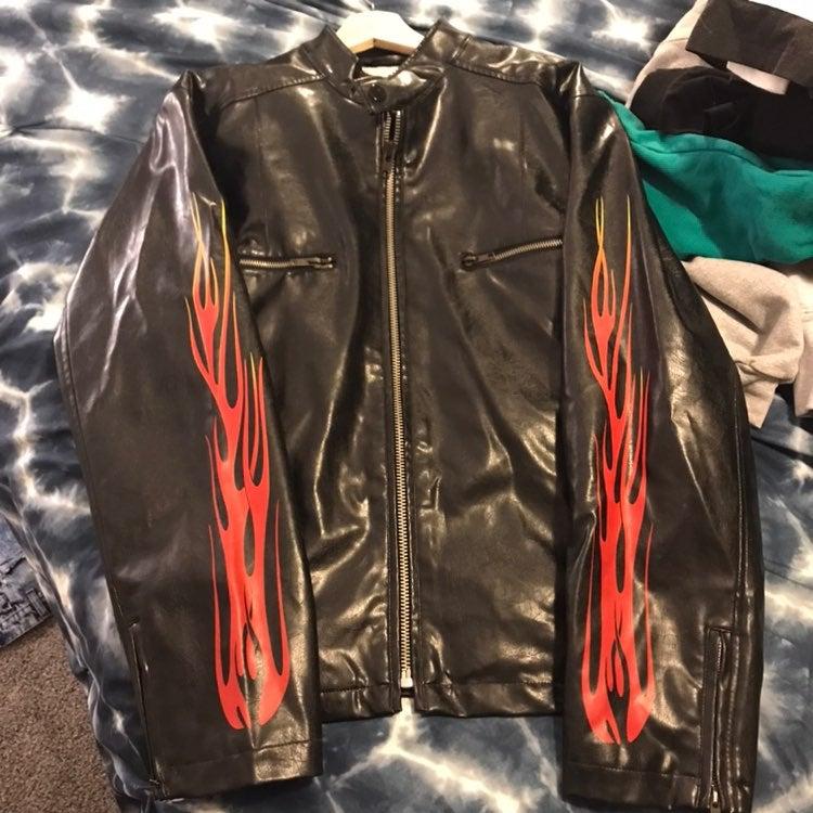 Vintage Flames Leather Jacket