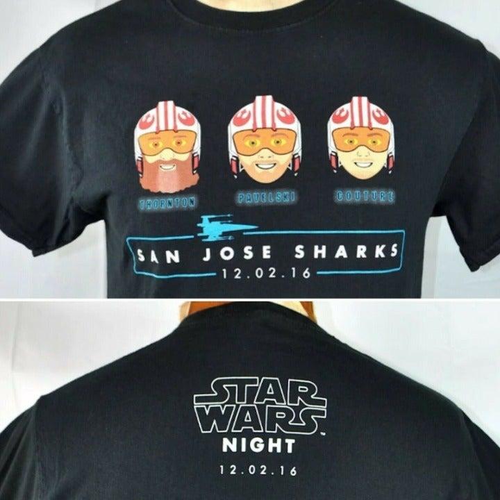 SJ Sharks Star Wars SGA T-Shirt Medium