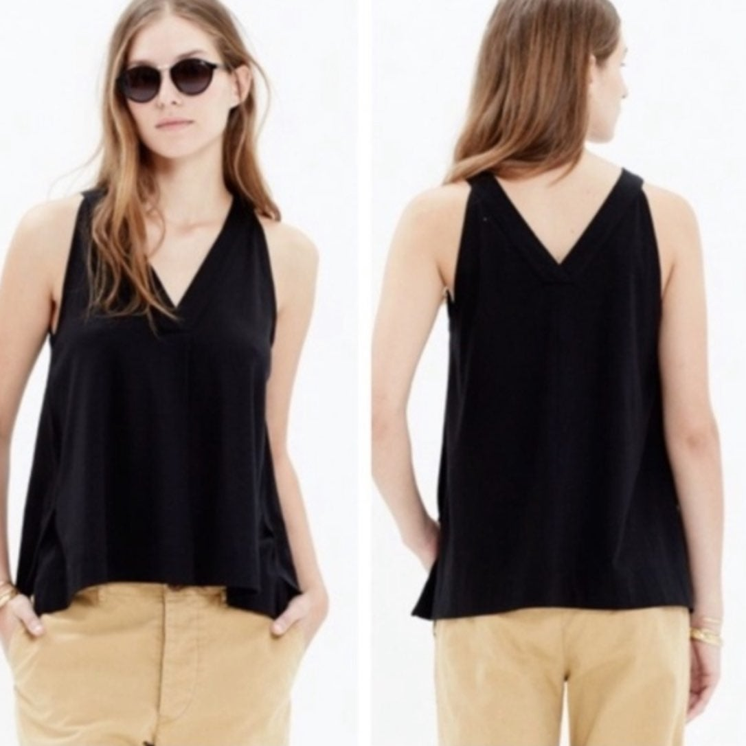 Madewell black slit night out tank top