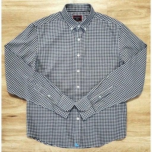 Untuckit Mens Blue Check Plaid Shirt S