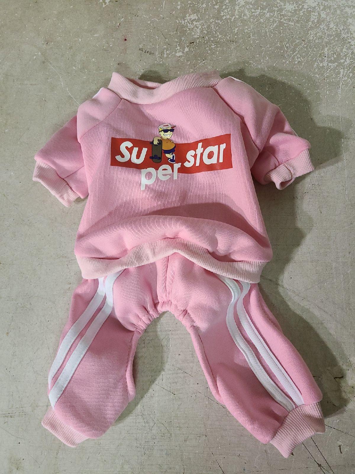 Dog pink track suit
