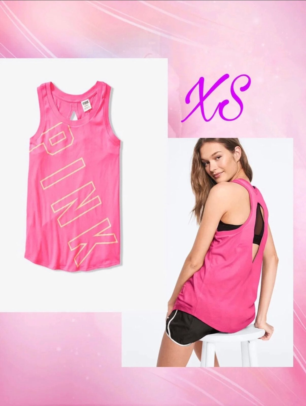 VS PINK MUSCLE TANK SLIT  BACK XS NEW