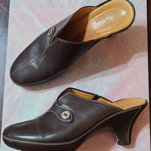 Cole Haan Brown Leather Heel Mules 11