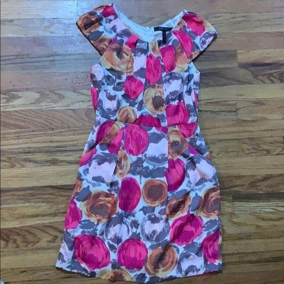 BCBG 0 Pink floral silk dress pockets
