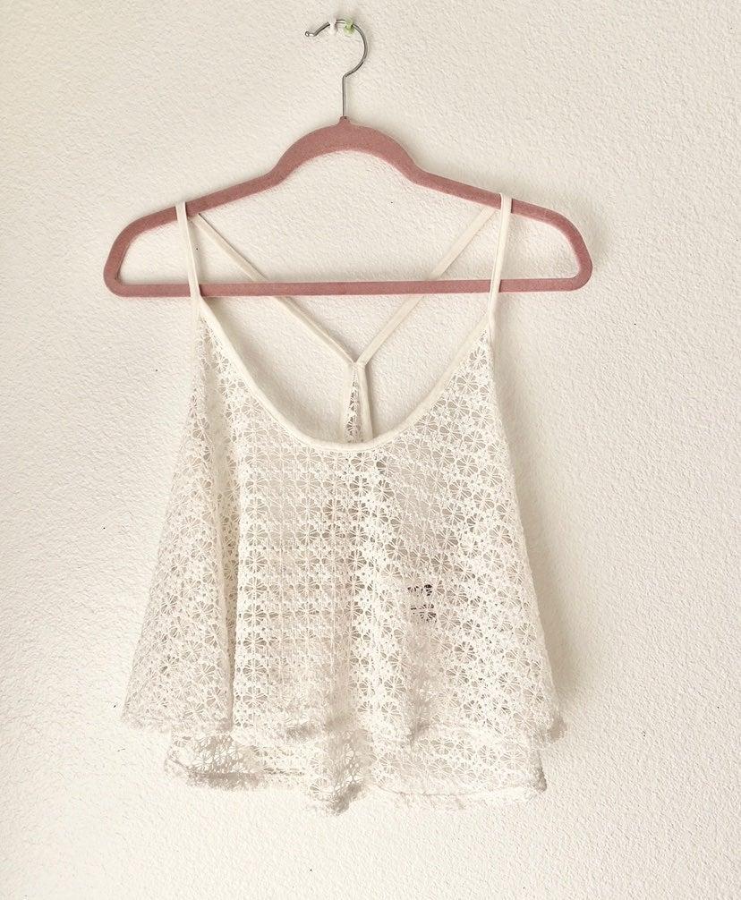 Pink Lace Crochet White Tank Top L Euc s